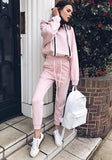 Pink Pockets Drawstring Two Piece Hooded Long Sleeve Sweet Long Jumpsuit