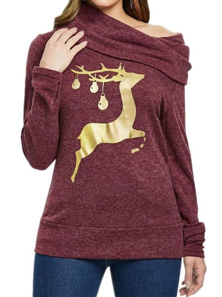New Red Gold Elk Print Ruffle Collar One Shoulder Christmas Casual Cute Sweatshirt