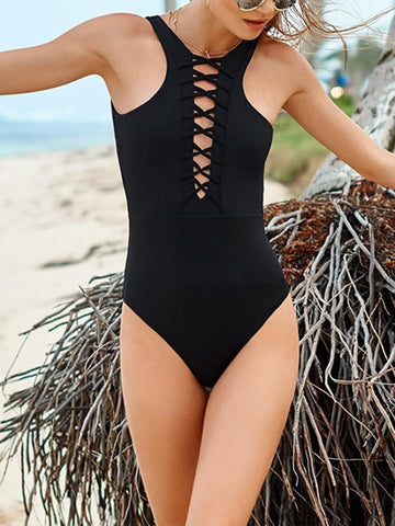 DaysCloth Black Lace Up Front Swimsuit