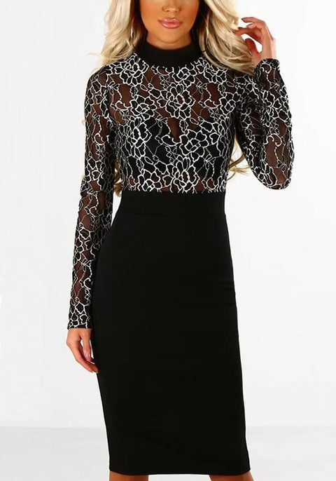 DaysCloth Black Flowers Lace Zipper Round Neck Fashion Midi Dress