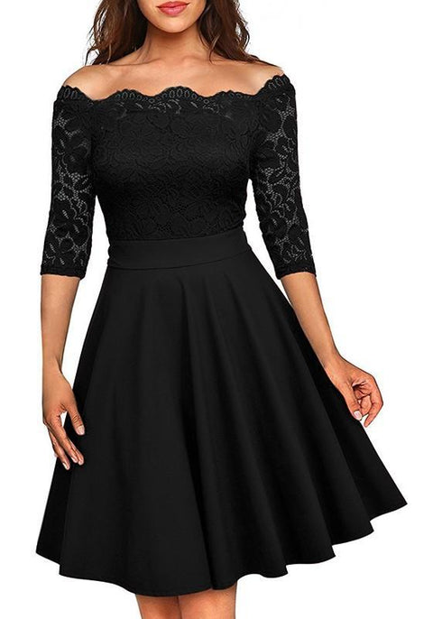 DaysCloth Black Patchwork Irregular Lace Boat Neck 3/4 Sleeve Midi Dress