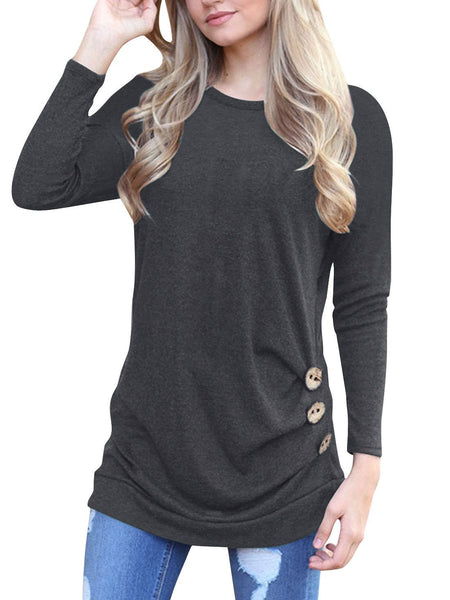 Black Round Neck Button Detail Long Sleeve T-shirt