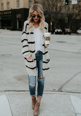 Grey Striped Print Pockets V-neck Fashion Cardigan Sweater