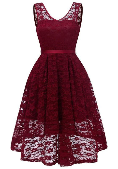 DaysCloth Burgundy Lace Draped Sashes Bow V-neck Banquet Elegant Party Midi Dress