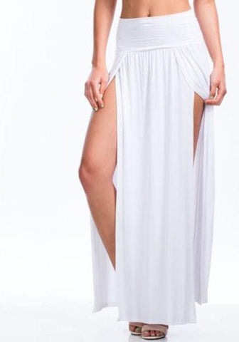 DaysCloth All White Irregular Double Slit Floor Length Fashion Beach Maxi Skirt