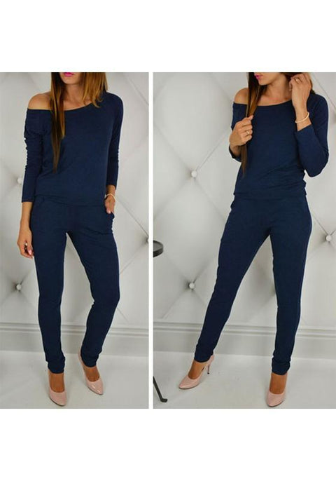 DaysCloth Dark Blue Plain Pockets 2-in-1 Casual Long Jumpsuit