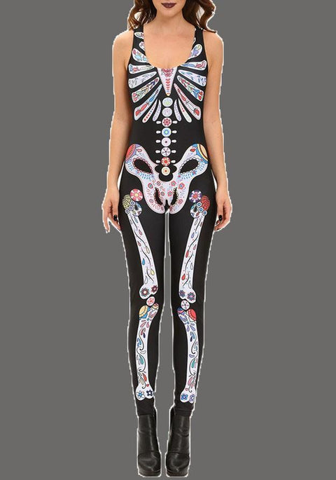 DaysCloth Black Skull Print High Waisted Skeleton Bodysuit Hallowmas Long Jumpsuit
