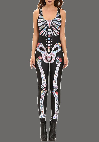 Black Skull Print High Waisted Skeleton Bodysuit Hallowmas Long Jumpsuit