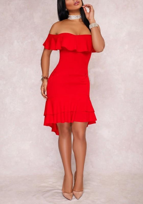 DaysCloth Red Off Shoulder Cascading Ruffle High-Low Prom Evening Party Midi Dress