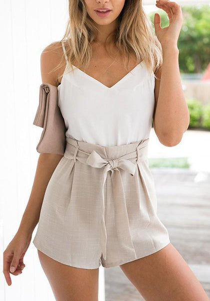 White Spaghetti Straps Bow Pleated High Waisted Zipper Belt Short Romper