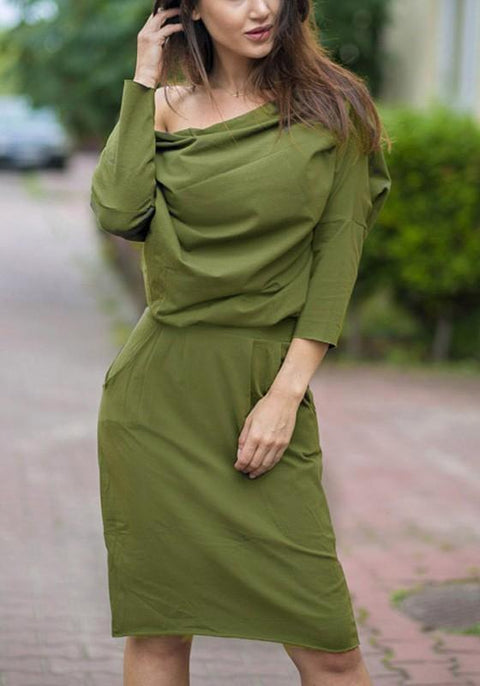 DaysCloth Green Plain Sashes Pockets Boat Neck Fashion Midi Dress
