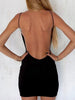 DaysCloth Black Backless Spaghetti Strap Bodycon Mini Dress