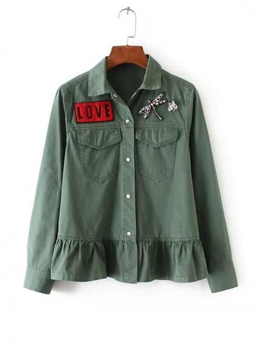 Army Green Letter Patch Dragonfly Beaded Ruffle Hem Coat
