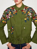 Army Green Embroidery Floral Ruffle Hem Long Sleeve Parka Coat