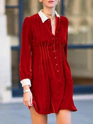 DaysCloth Red Velvet Contrast Shirt Collar Long Sleeve Mini Dress