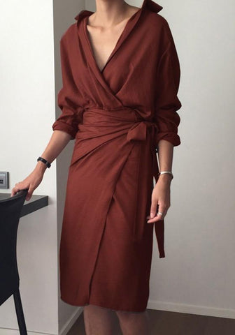 Claret Plain Belt V-neck Fashion Midi Dress