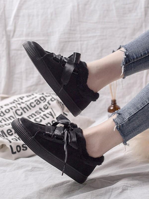 DaysCloth New Black Round Toe Lace-up Casual Ankle Shoes