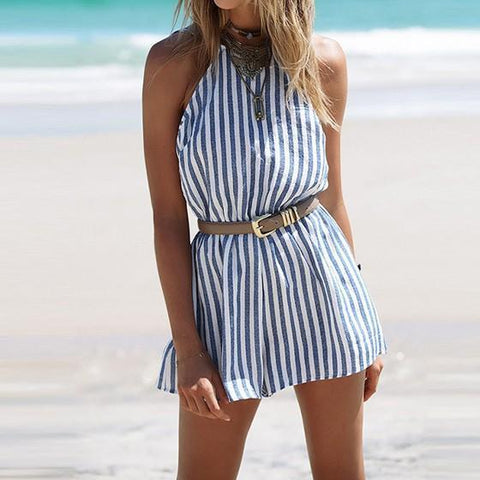 DaysCloth Blue And White Striped Cut Out Backless Short Jumpsuit