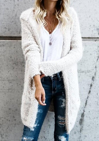 White Plain Pockets Hooded Fuzzy Long Sleeve Casual Coat