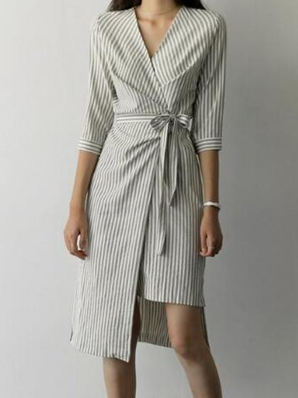 Beige Stripe Wrap Tie Waist Asymmetric Hem Midi Dress