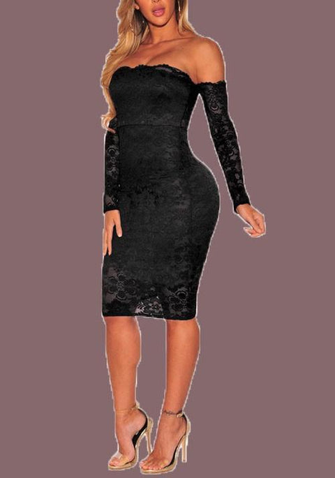 DaysCloth Black Floral Lace Backless Off Shoulder Bodycon Long Sleeve Party Midi Dress