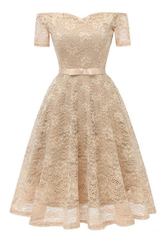 Apricot Lace Bow Pleated Off Shoulder Backless Tutu Banquet Elegant Party Midi Dress