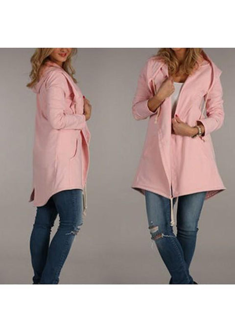 DaysCloth Pink Irregular Pockets Drawstring Slit Hooded Long Sleeve Outerwear