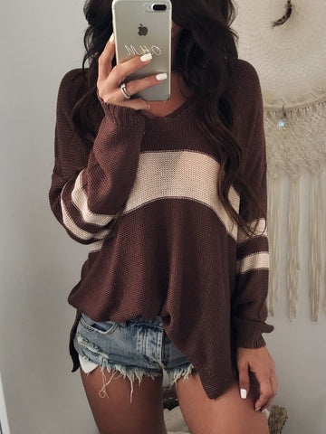 DaysCloth Brown V-neck Contrast Detail Long Sleeve Knit Sweater