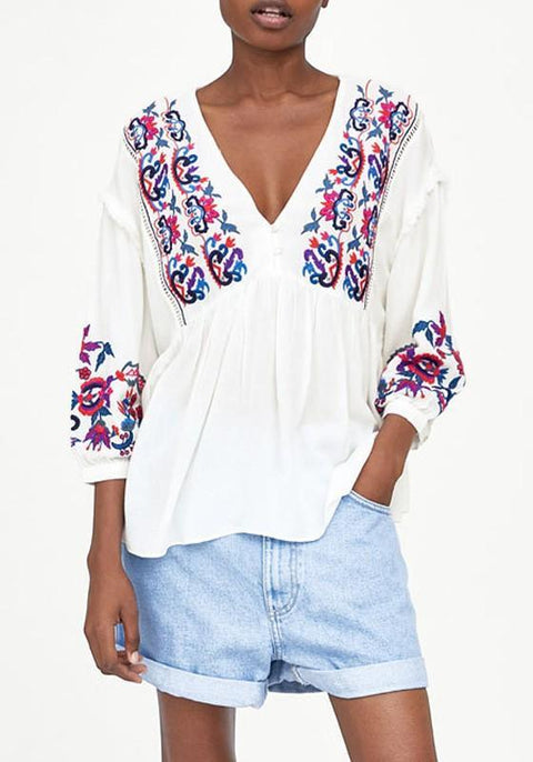 DaysCloth White Floral Embroidery Buttons Draped V-neck Bohemian Sweet Blouse