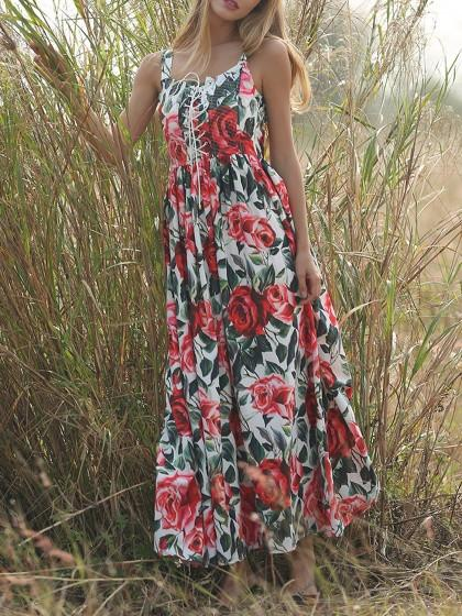 DaysCloth White Sleeveless Floral Printed Lace Up Pleated Full Maxi Dress