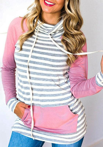 New Pink Patchwork Drawstring Pockets Long Sleeve Pullover Sweatshirt