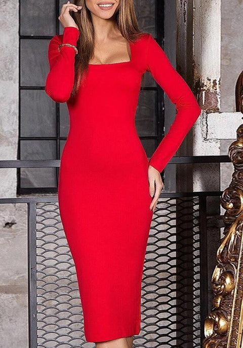 DaysCloth Red Square Neck Long Sleeve Knee Length Midi Dress