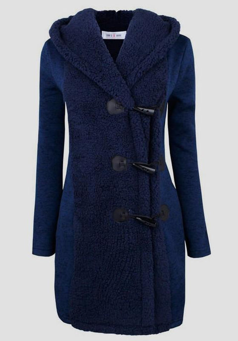 DaysCloth Blue Patchwork Buttons Hooded V-neck Long Sleeve Cardigan Coat