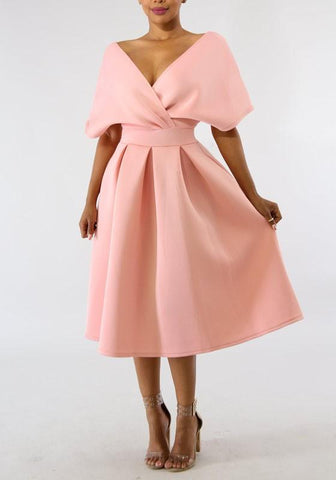 DaysCloth Pink Pleated Off Shoulder Backless High Waisted Banquet Formal Party Midi Dress