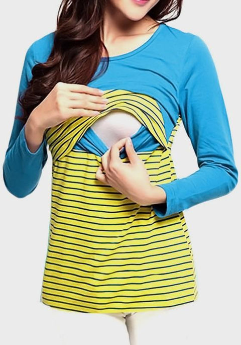 DaysCloth Blue-Yellow Striped Print Maternity and Lactant Women Casual T-Shirt
