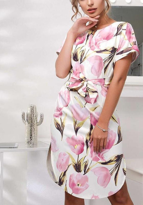 DaysCloth Pink Floral Irregular Sashes V-neck Short Sleeve Fashion Midi Dress