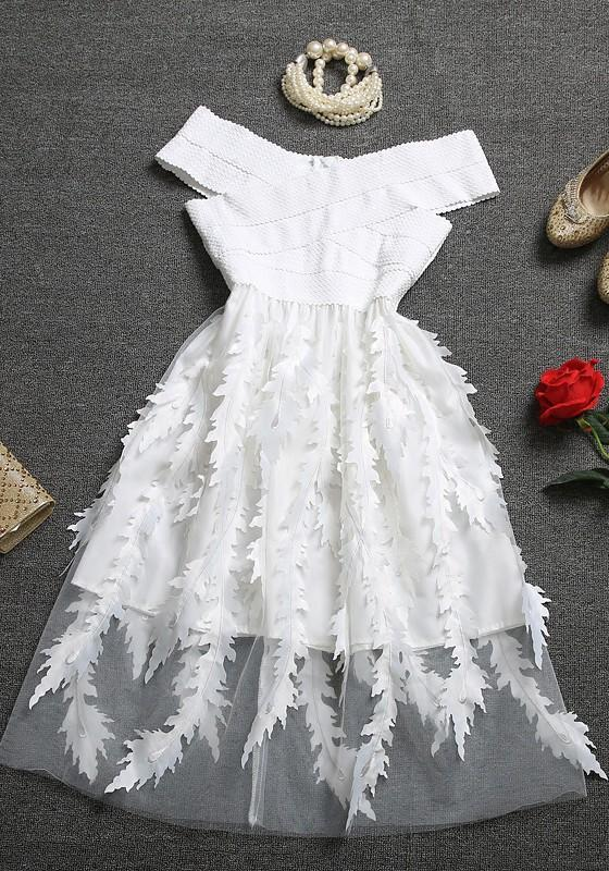 456eac2d724a2 White Floral Patchwork Tulle Bandage Off Shoulder Homecoming Party Flowy  Midi Dress