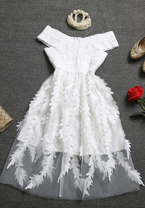 DaysCloth White Floral Patchwork Tulle Bandage Off Shoulder Homecoming Party Flowy Midi Dress
