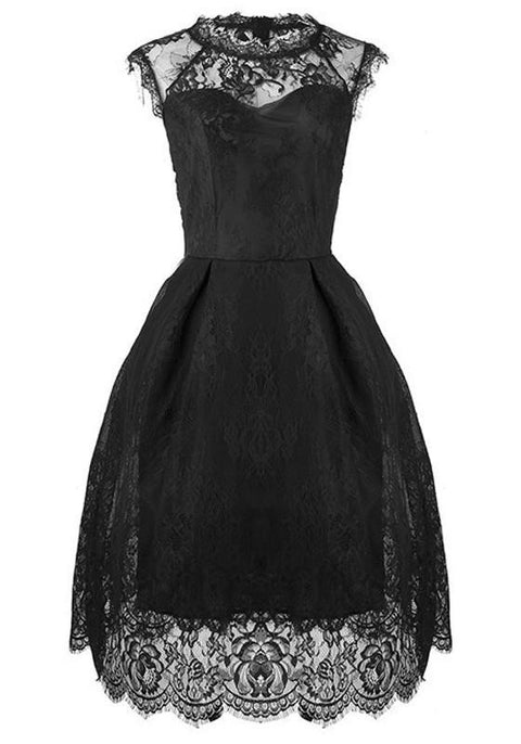 DaysCloth Black Patchwork Lace Pleated Round Neck Short Sleeve Elegant Bridesmaid Midi Dress