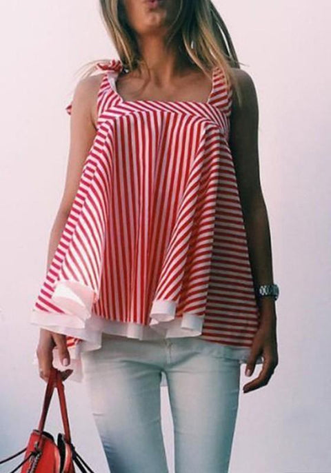 DaysCloth Red-White Striped Draped Irregular Square Neck Oversize Vest