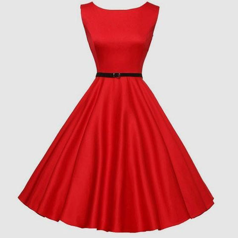 DaysCloth Red Draped Belt Zipper A-Line Elegant Midi Dress