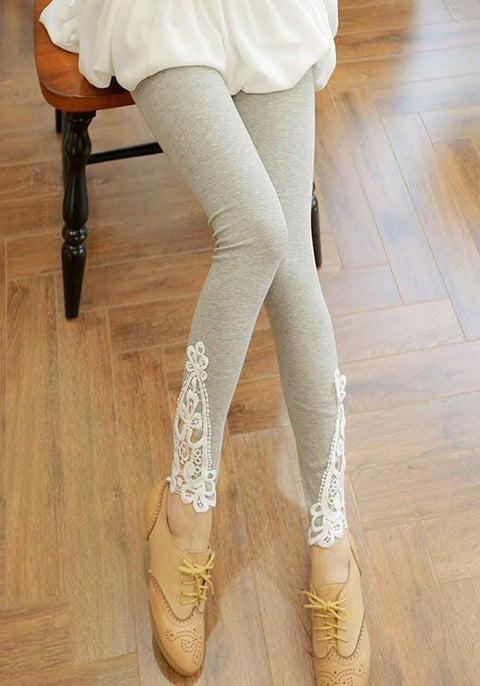 DaysCloth Light Grey Patchwork Lace Elastic Waist Fashion Long Leggings