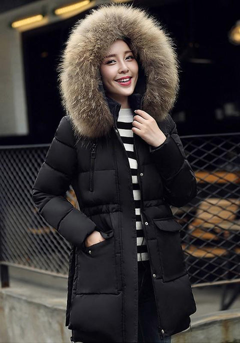 DaysCloth Black Pockets Zipper Faux Fur Hooded Long Sleeve Fashion Padded Coats