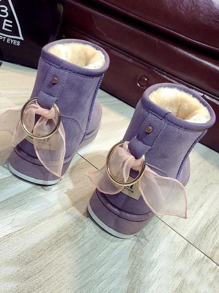 New Light Purple Round Toe Flat Bow Fashion Ankle Boots