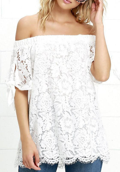 DaysCloth White Patchwork Lace Off Shoulder Boat Neck Fashion Cute Blouse