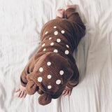 Brown Polka Dot Zipper Baby Casual Long Jumpsuit