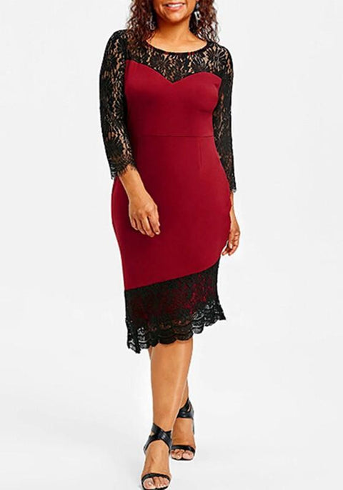DaysCloth Red-Black Patchwork Lace Bodycon Plus Size Banquet Elegant Party Midi Dress