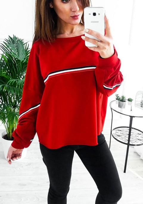 DaysCloth Red Striped Print Round Neck Casual Pullover Sweatshirt