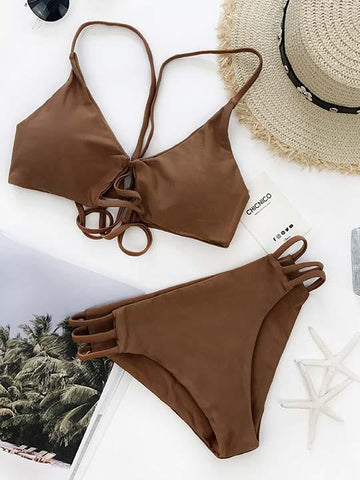 DaysCloth Sexy Bikini Brown Swimsuit Top and Bottom Bikini Set