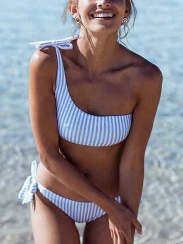 Blue Stripe Bow Detail Bikini Top And Bottom